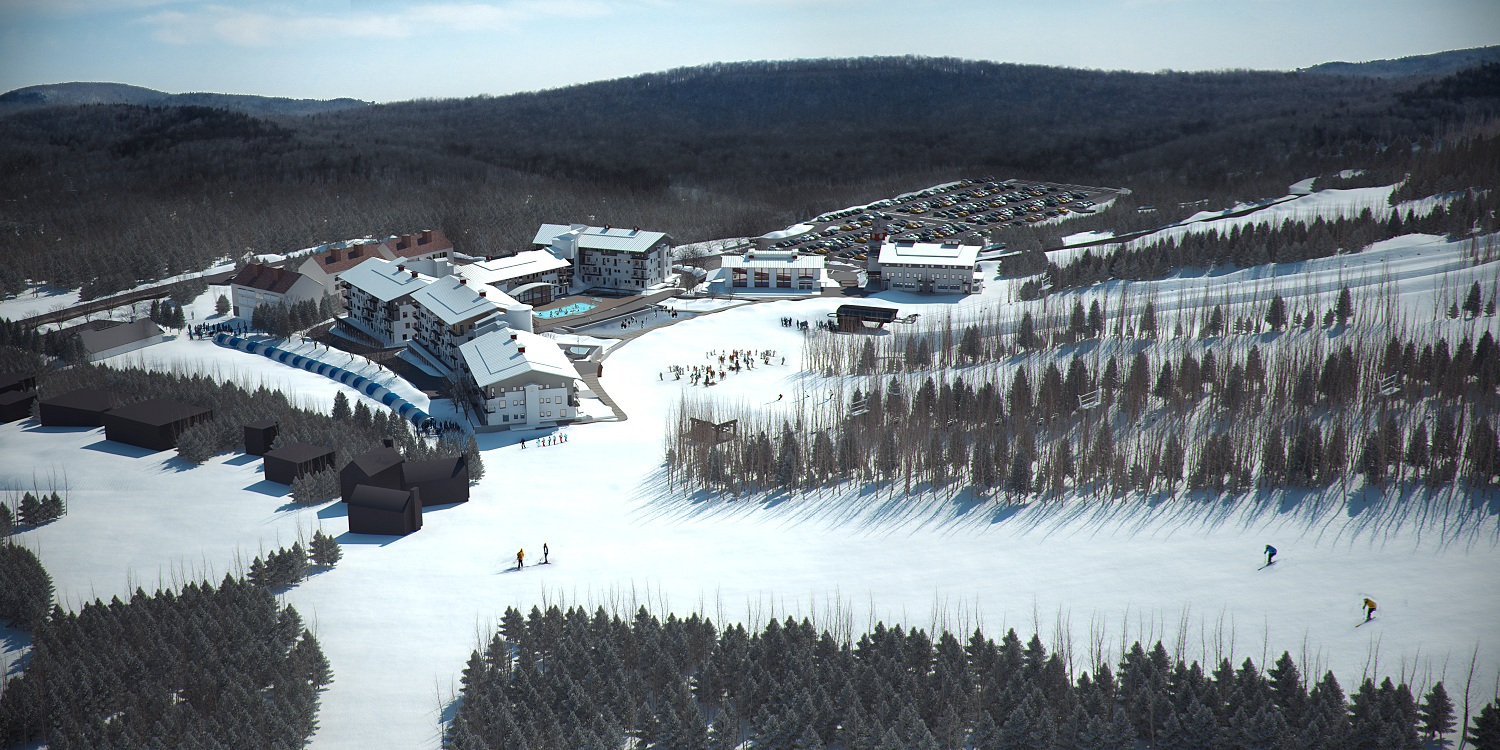 Side View of 110 unit lodge in Mount Snow VT